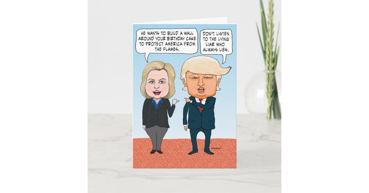 Brilliant Funny Hillary Clinton And Donald Trump Birthday Card Personalised Birthday Cards Veneteletsinfo