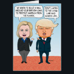"""Funny Hillary Clinton and Donald Trump Birthday Card<br><div class=""""desc"""">This funny and timely birthday card features presidential candidates Hillary Clinton and Donald Trump having a spirited debate about a birthday cake. This is an original cartoon by &#169; Chuck Ingwersen. See more of my cartoons at captainscratchy.com</div>"""