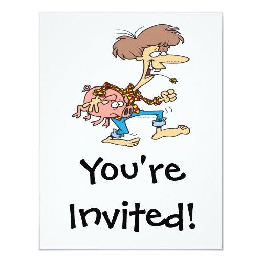 funny hillbilly redneck with pig cartoon 4.25x5.5 paper invitation ...