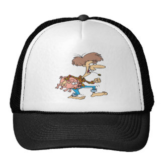 funny hillbilly redneck with pig cartoon trucker hat