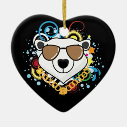 Funny Hip-Hop Polar Bear Picture Ceramic Ornament