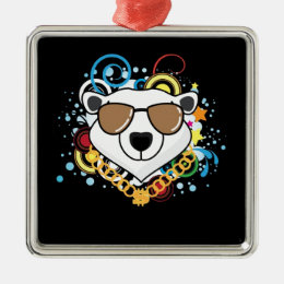 Funny Hip-Hop Polar Bear Picture Metal Ornament