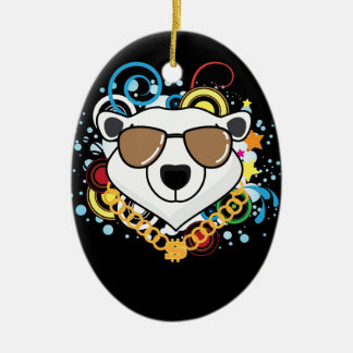 Funny Hip-Hop Polar Bear Picture Double-Sided Oval Ceramic Christmas Ornament