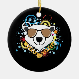 Funny Hip-Hop Polar Bear Picture Double-Sided Ceramic Round Christmas Ornament