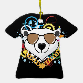 Funny Hip-Hop Polar Bear Picture Double-Sided T-Shirt Ceramic Christmas Ornament
