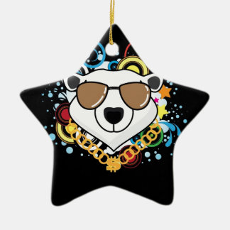 Funny Hip-Hop Polar Bear Picture Double-Sided Star Ceramic Christmas Ornament