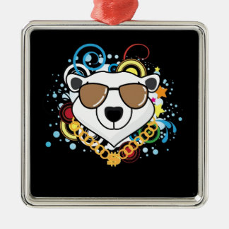 Funny Hip-Hop Polar Bear Picture Square Metal Christmas Ornament