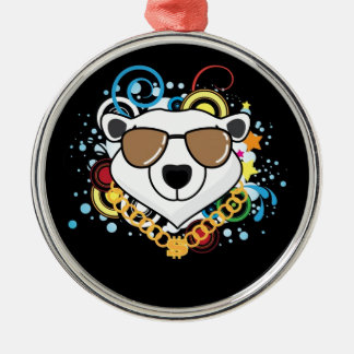 Funny Hip-Hop Polar Bear Picture Round Metal Christmas Ornament