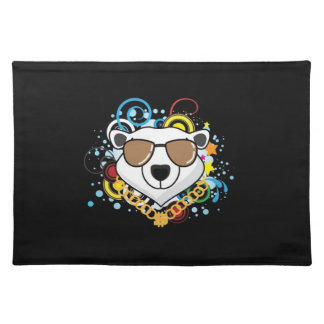 Funny Hip-Hop Polar Bear Picture Placemat