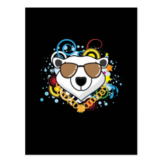 Funny Hip-Hop Polar Bear Picture Post Cards