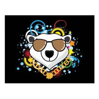Funny Hip-Hop Polar Bear Picture Postcard