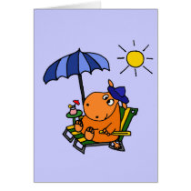 Funny Hippo at the Beach Card
