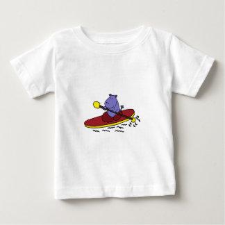 Funny Hippo Kayaking Cartoon Baby T-Shirt