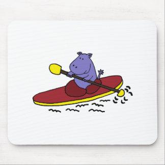 Funny Hippo Kayaking Cartoon Mouse Pad