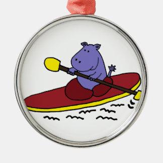 Funny Hippo Kayaking Cartoon Ornaments