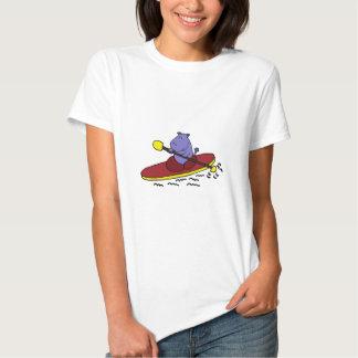 Funny Hippo Kayaking Cartoon T-Shirt