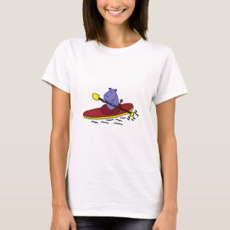 Funny Hippo Kayaking Cartoon T-Shirt