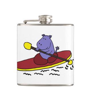 Funny Hippo Kayaking Hip Flask
