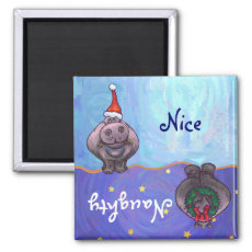 Funny Hippo Naughty Nice Holiday Magnet
