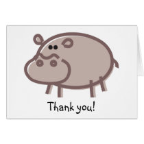 Funny Hippo on White Card