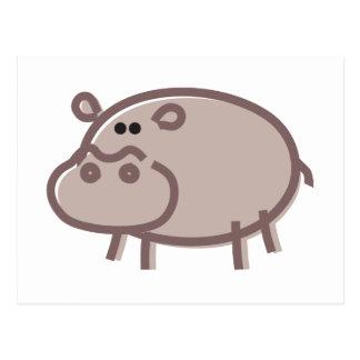 Funny Hippo on White Postcard