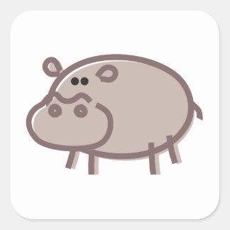 Funny Hippo on White Square Sticker
