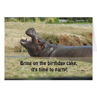Funny Hippopotamus Birthday Greeting Greeting Card