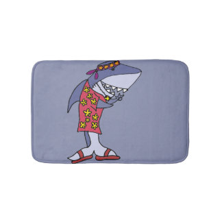 Funny Hippy Shark at the Beach Bathroom Mat