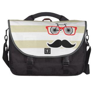 Funny Hipster; Beige Stripes; Striped Laptop Messenger Bag