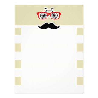 Funny Hipster; Beige Stripes; Striped Custom Letterhead