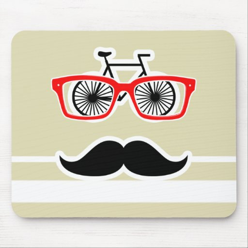 Funny Hipster; Beige Stripes; Striped Mouse Pad