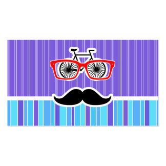 Funny Hipster; Blue & Purple Stripes Business Cards
