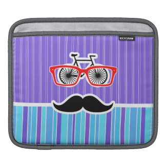 Funny Hipster; Blue & Purple Stripes Sleeves For iPads