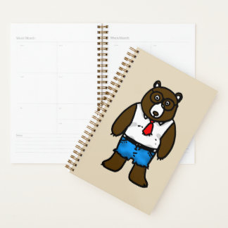 funny hipster brown bear planner