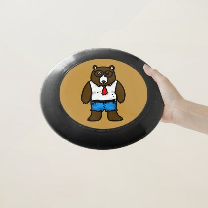 funny hipster brown bear Wham-O frisbee