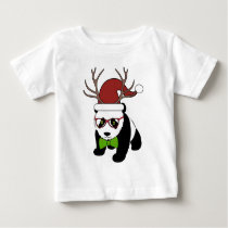 Funny Hipster Christmas Panda with antlers Baby T-Shirt
