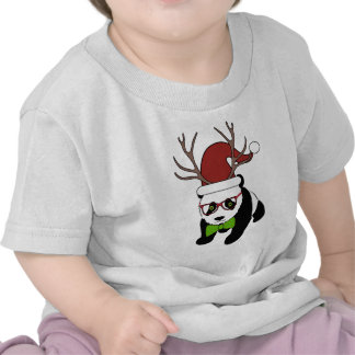 Funny Hipster Christmas Panda with antlers Tees