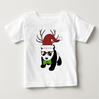 Funny Hipster Christmas Panda with antlers Tshirt