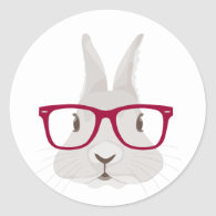 Funny Hipster Easter bunny with red rim glasses Classic Round Sticker