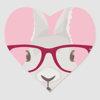 Funny Hipster Easter bunny with red rim glasses Heart Sticker