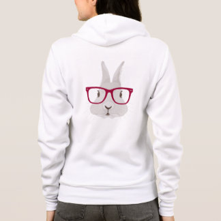 Funny Hipster Easter bunny with red rim glasses Hoodie
