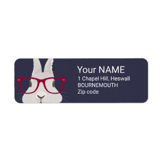 Funny Hipster Easter bunny with red rim glasses Label