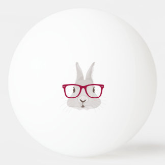Funny Hipster Easter bunny with red rim glasses Ping-Pong Ball