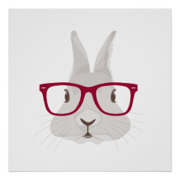 Funny Hipster Easter bunny with red rim glasses Poster