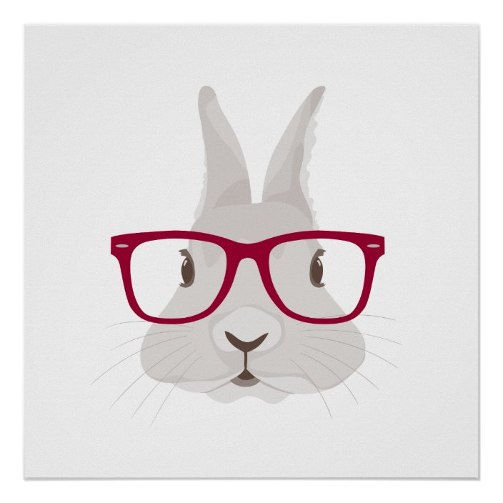 Happy Easter Bunny Faces in Fun Glasses Set of 2 Kitchen Towels