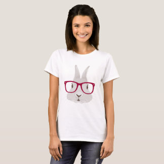 Funny Hipster Easter bunny with red rim glasses T-Shirt