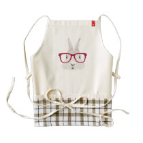 Funny Hipster Easter bunny with red rim glasses Zazzle HEART Apron