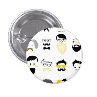 Funny Hipster Faces 1 Inch Round Button