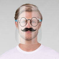 Funny Hipster Glasses and Mustache Face Shield