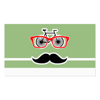 Funny Hipster; Laurel Green Horizontal Stripes Business Card Template